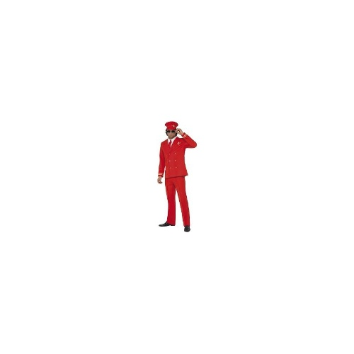 New Smiffys Male High Flyer Red Pilot Captain Fancy Dress Costume - Xlarge