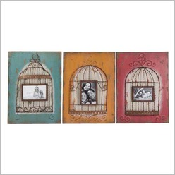 Stoneleigh & Roberson - Birdcage Wall Art with Photo Frame in Multicolour - Wall Art