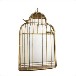 Stoneleigh & Roberson - 55.5 cm Iron Birdcage Wall Plaque with Mirror - Wall Art