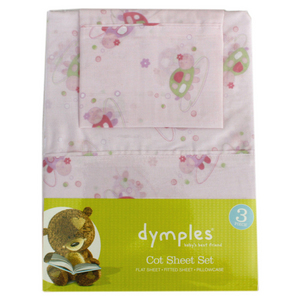 Dymples 3 Piece Sheet Set - Pink Turtle-Cot