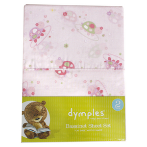 Dymples 2 Piece Sheet Set-Pink Turtle-Bass
