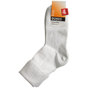 Bonds 4 Pack School Turnover Top Socks - White - Size 9/12