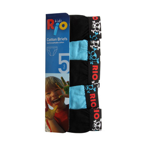 Rio Boys 5 Pack Attached Elastic Brief - Blue - Size 2/3