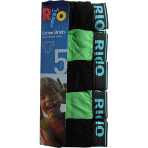 Rio Boys 5 Pack Attached Elastic Brief - Green - Size 2/3