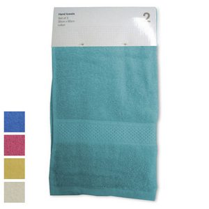 Cotton 2 Pack Hand Towels - Aqua