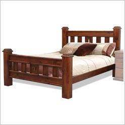 Bay Street - Spring Single or Double Bed and Slats in Rough Sawn Size: Double - Beds