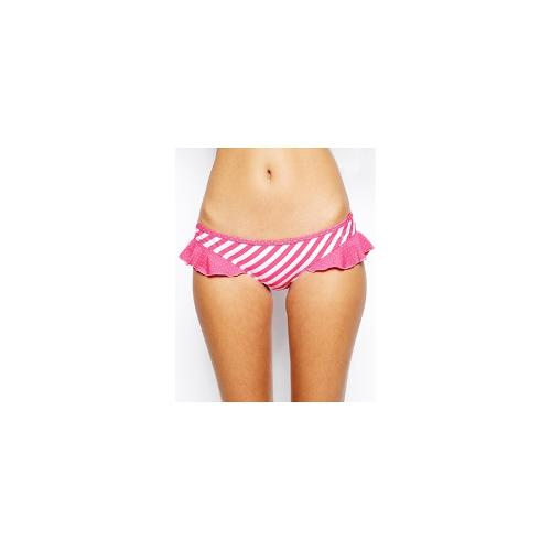 By Caprice Muse Frill Hipster Bikini Bottom - Pink/white