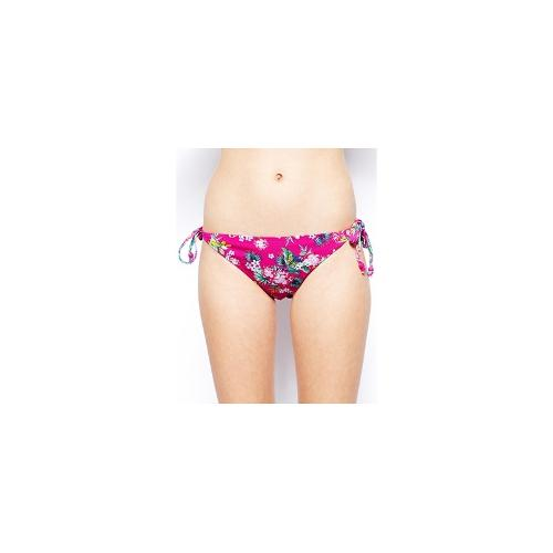 Marie Meili Hanalei Tropical Side Tie Bikini Bottoms - Hot fuschia tropical