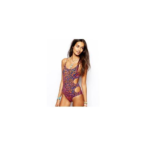 Insight Coloured Leo Print Suit With Key Hole Sides - Red leo print