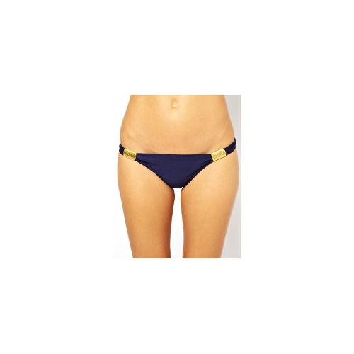 South Beach Carmen Hipster Bikini Bottom With Gold Sliders
