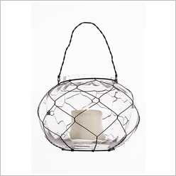 Stoneleigh & Roberson - Wire Fishbowl Lantern with Glass (Set of 4) - Candles & Candle Holders