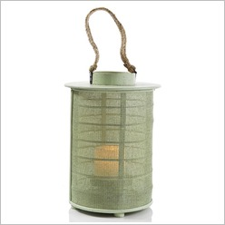 Stoneleigh & Roberson - Round Lantern with Mesh and Rope Handle (Set of 2) Colour: Pastel Green - Candles & Candle Holders