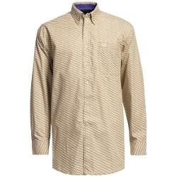Panhandle Slim Peached Poplin Print Shirt - Long Sleeve (For Men) - TAN ( XL )