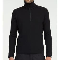 Icebreaker Bodyfit 260 Tech Base Layer Top - Merino Wool, Zip, Midweight, Long Sleeve (For Men) - BLACK ( 2XL )