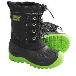 Kodiak Radley Snow Boots - Waterproof, Insulated (For Boys) - BLACK/SONIC GREEN ( 6 )