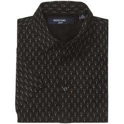 Toscano Patterned Shirt - Silk-Rayon, Short Sleeve (For Men) - BLACK TEE ME UP ( L )