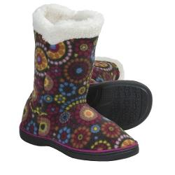 Acorn Peek-a-Boot Slippers - Fleece (For Girls) - CHOCOLATE DOTS ( 11/12 )