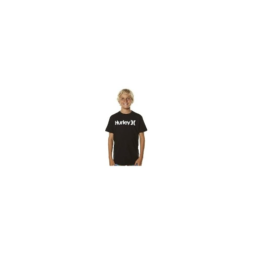 Hurley Boys Tees - Hurley Kids One And Only Core Black Tee Size 10