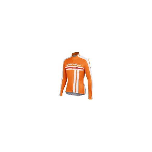 Castelli Free Cycling Jersey - Full Zip, Long Sleeve (For Men) - ORANGE/WHITE ( L )