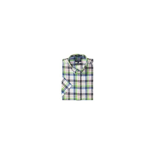 Viyella Washed Cotton Plaid Shirt - Button Down, Short Sleeve (For Men) - MINERAL GREEN ( L )