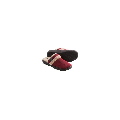 Woolrich Kettle Creek Slippers - Suede, Faux-Fur Lining (For Women) - BLACK ( 6 )