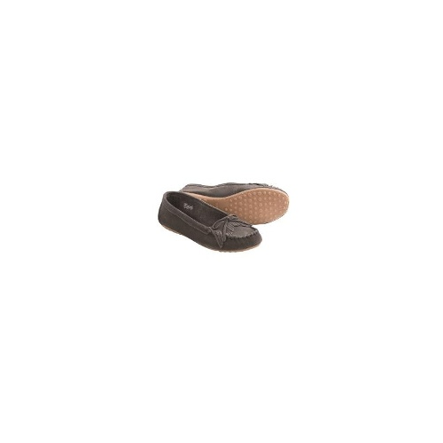 Minnetonka Kathleen Kilty Moccasins (For Women) - CHARCOAL ( 7 )