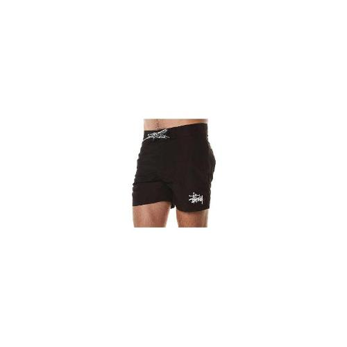 Stussy Mens Board Shorts - New Stussy Men's Solid Nylon Boardshort Logo Swimwear Black Size 32