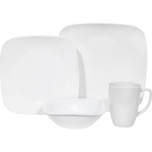 Corelle 'Pure White' 16 Piece Square Dinner Set