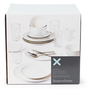 House x Home 54 Piece White Home Starter Set