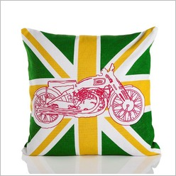 Pomp and Ceremony - Vincent Motorcycle Cushion in Green - Cushions