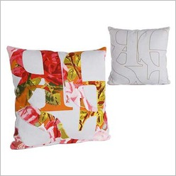 Pomp and Ceremony - Square Rose Floral Text Cushion in Light Grey - Cushions