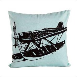 Pomp and Ceremony - Square Old Plane Cushion in Light Blue - Cushions
