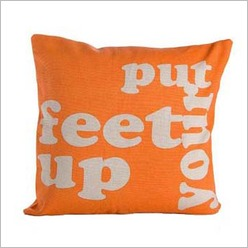 Pomp and Ceremony - Square Put Your Feet Up Cushion in Orange - Cushions