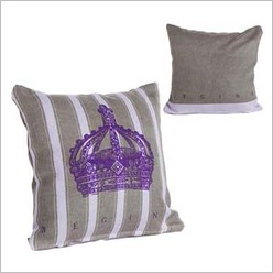 Pomp and Ceremony - Square Crown Cushion in Grey Size: 30 cm H x 30 cm W - Cushions
