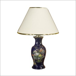Transco - Old Floral Design on Ceramic Base Table Lamp - Lamps