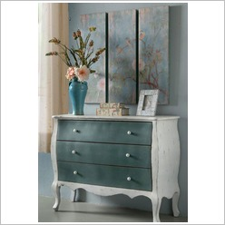 Phil Bee Interiors - Chest of Draws in White Wash and Aqua - Tallboys & Chests of Drawers