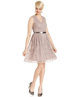 SL Fashions Dress, Sleeveless Lace Belted A-Line