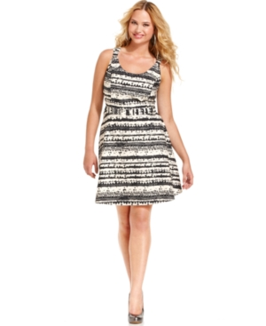 Jessica Simpson Plus Size Dress, Sleeveless Printed A-Line