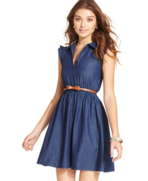 BeBop Juniors Dress, Sleeveless Belted Chambray
