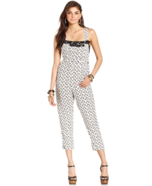 Angie Juniors Jumpsuit, Cropped Printed Overalls