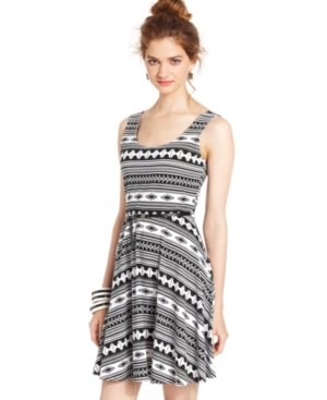 Juniors Dress, Sleeveless Belted Printed Fit & Flare Dress