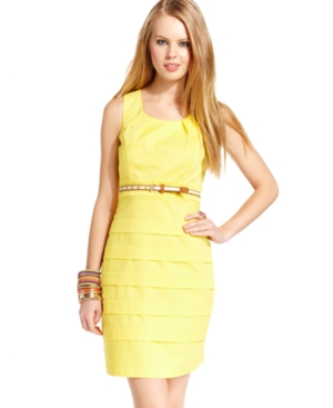 BCX Juniors Dress, Sleeveless Belted Sheath