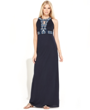 INC International Concepts Dress, Sleeveless Embroidered Maxi