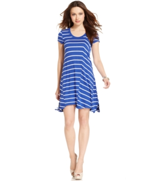Kensie Dress, Short-Sleeve Scoop-Neck Striped A-Line