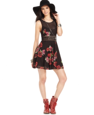 Free People Dress, Sleeveless Scoop-Neck Floral-Print Lace