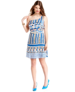 ING Plus Size Dress, One-Shoulder Printed Belted