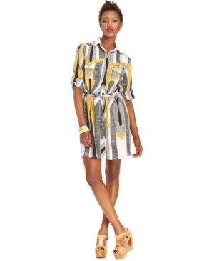 Bar III Dress, Long-Sleeves Geometric-Print Shirtdress
