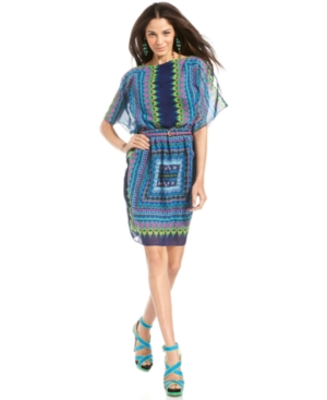 Luxology Dress, Short-Sleeve Printed Belted