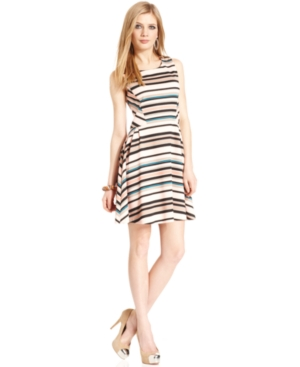 Bar III Dress, Sleeveless Striped A-Line