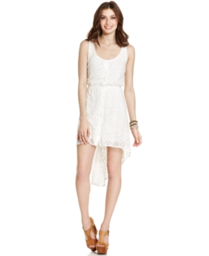 Urban Hearts Juniors Dress, Sleeveless Lace High-Low